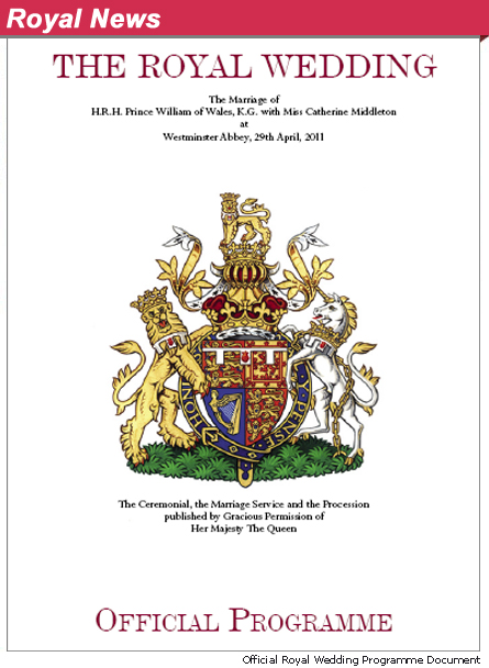 Here it is folks the Official Royal Wedding Program from the Prince